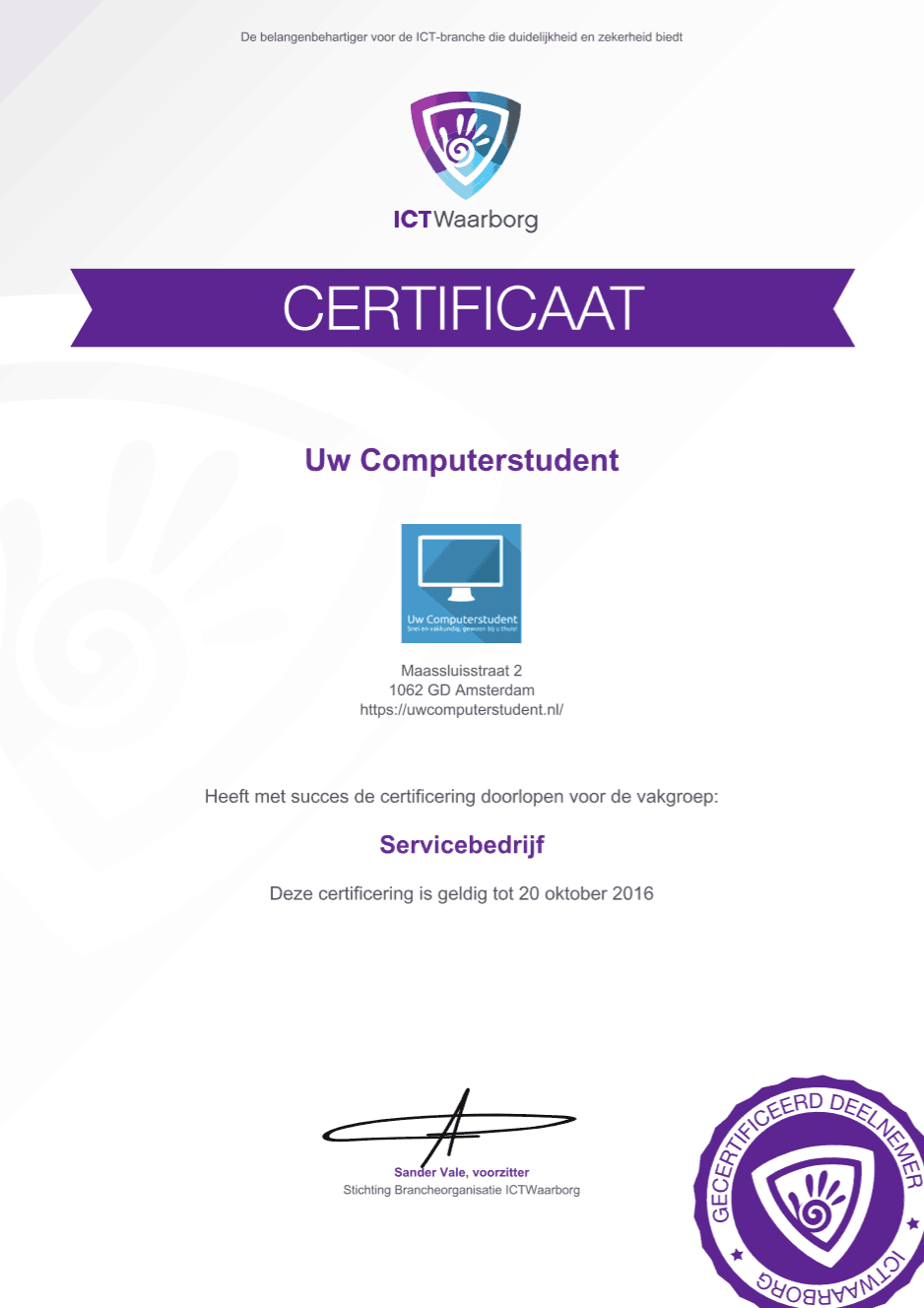 Uw Computerstudent is ICTWaarborg gecertificeerd